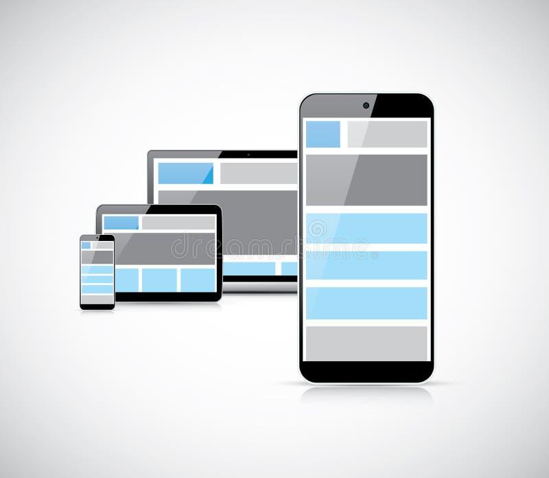 Ontvankelijk mobiel eerste Webontwerp in smartphone v stock illustratie