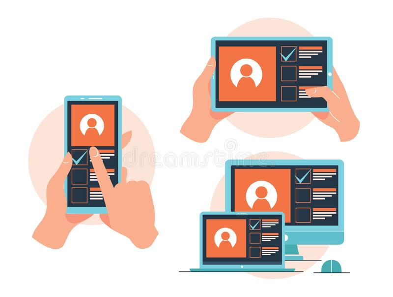 Ontvankelijke app landingspagina, telefoon, tablet, en computerlaptop die over app stemmen stock illustratie