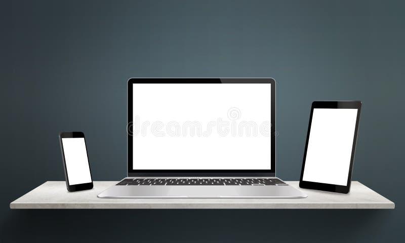 Ontvankelijke apparaten op bureau met het scherm voor model vector illustratie