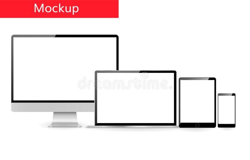Ontvankelijke de computerlaptop van het ontwerpmalplaatje tablet en smartphone die zich in lijn bevinden stock illustratie