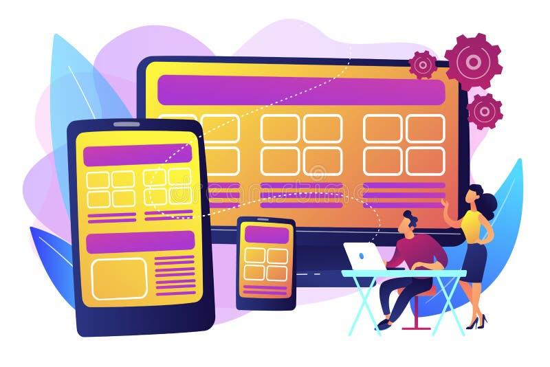 Ontvankelijke het concepten vectorillustratie van het Webontwerp vector illustratie