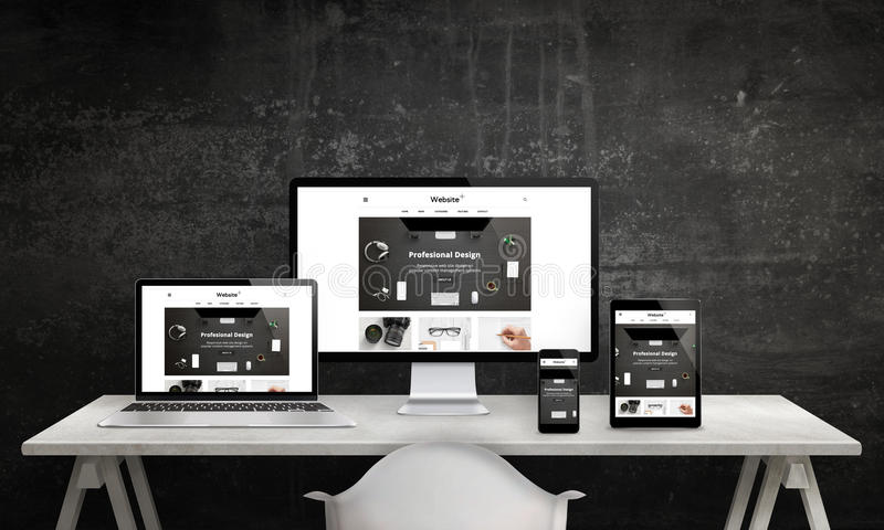 Ontvankelijke websitebevordering op computervertoning, laptop, tablet en slimme telefoon vector illustratie