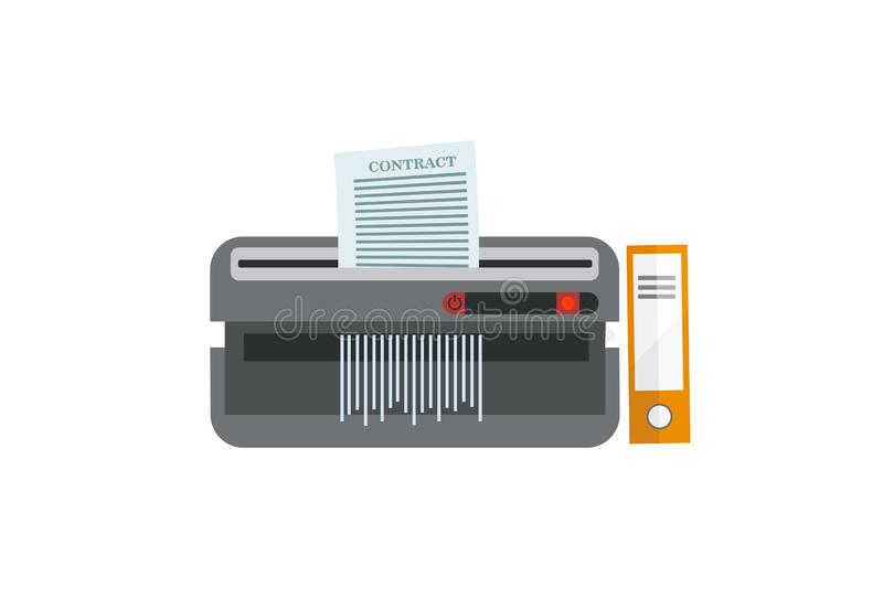 Ontvezelmachinemachine Bureauapparaat voor vernietiging van documenten met oranje omslag Het concept van de documentbe?indiging P stock illustratie