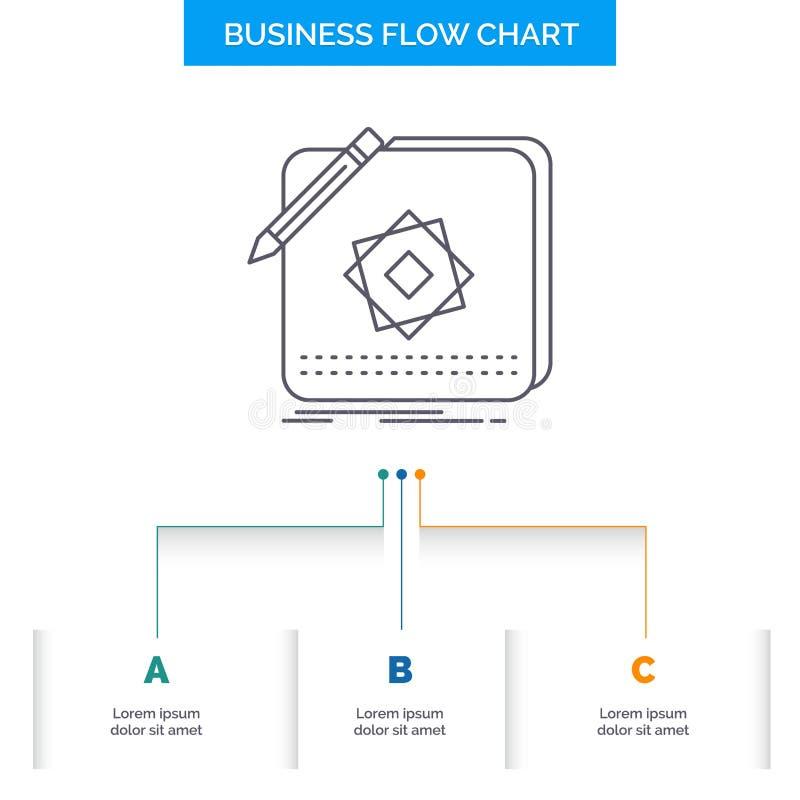 Ontwerp, App, Embleem, Toepassing, het Ontwerp Ontwerp van de Bedrijfsstroomgrafiek met 3 Stappen Lijnpictogram voor Presentatie  vector illustratie