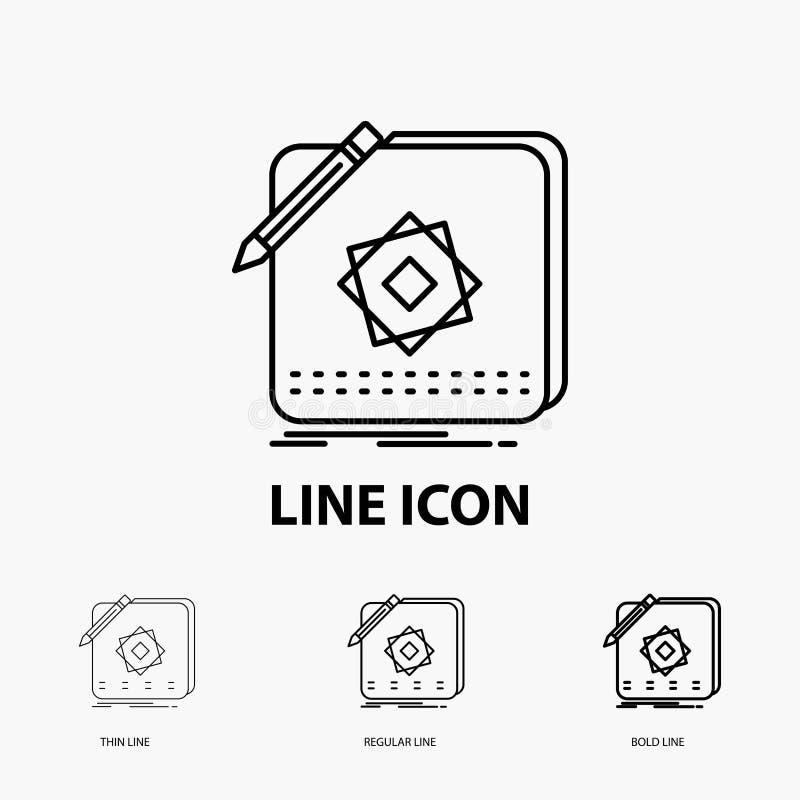 Ontwerp, App, Embleem, Toepassing, Ontwerppictogram in Dunne, Regelmatige en Gewaagde Lijnstijl Vector illustratie vector illustratie