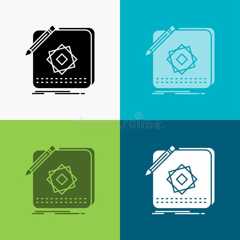 Ontwerp, App, Embleem, Toepassing, Ontwerppictogram over Diverse Achtergrond glyph stijlontwerp, voor Web dat en app wordt ontwor vector illustratie