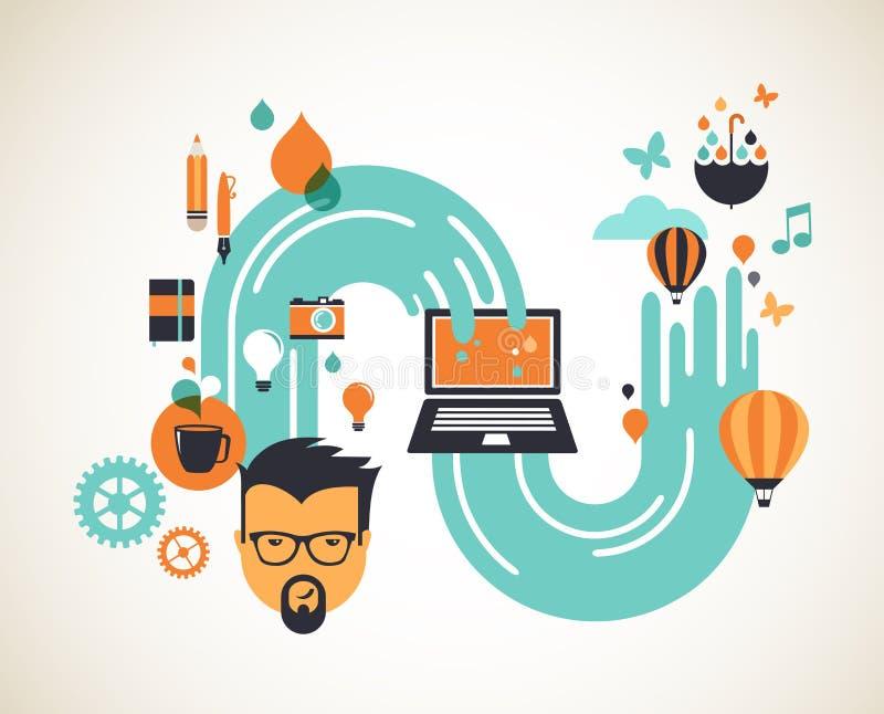 Ontwerp, creatieve, idee en innovatieconcept royalty-vrije illustratie