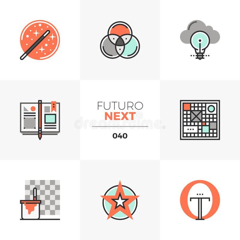Ontwerp die de Volgende Pictogrammen van Futuro denken vector illustratie