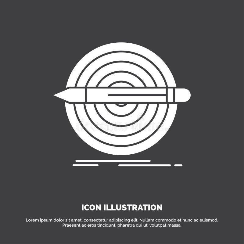 Ontwerp, doel, potlood, reeks, doelpictogram glyph vectorsymbool voor UI en UX, website of mobiele toepassing stock illustratie