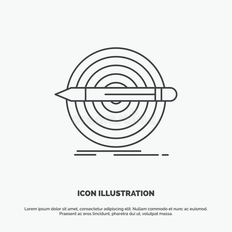 Ontwerp, doel, potlood, reeks, doelpictogram Lijn vector grijs symbool voor UI en UX, website of mobiele toepassing stock illustratie