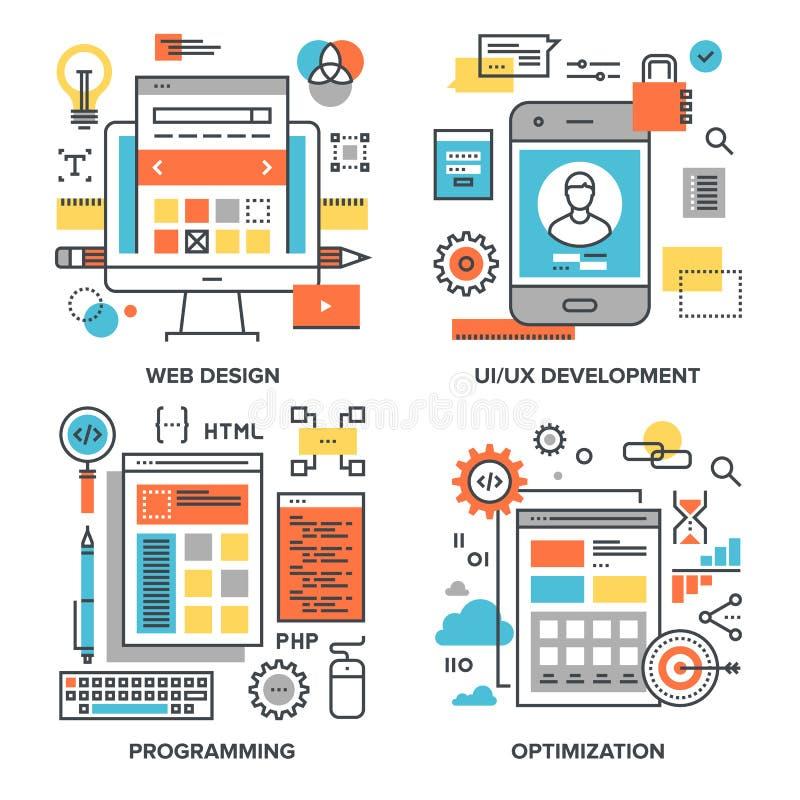 Ontwerp en ontwikkeling stock illustratie