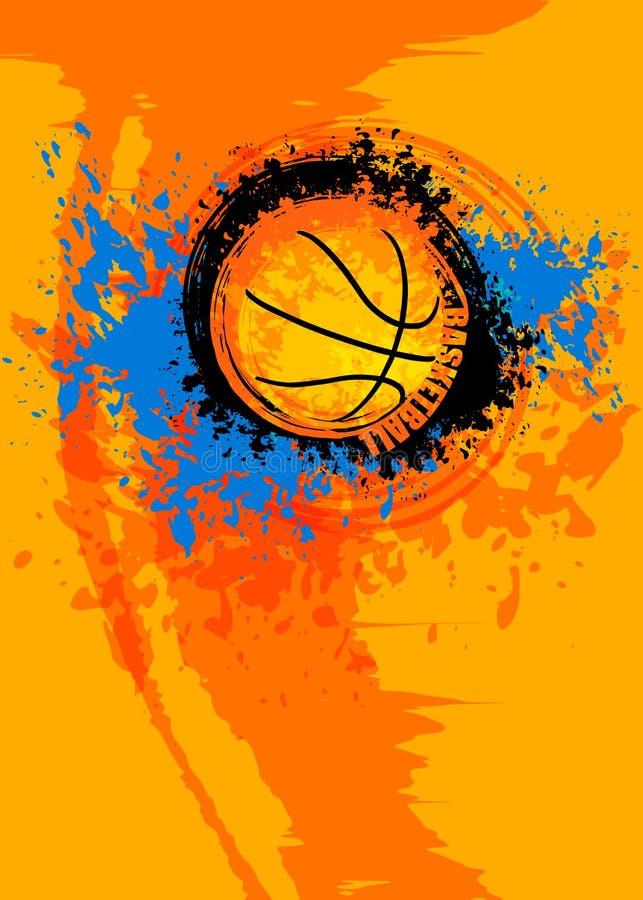 Ontwerp grunge verticaal malplaatje voor basketbal stock illustratie