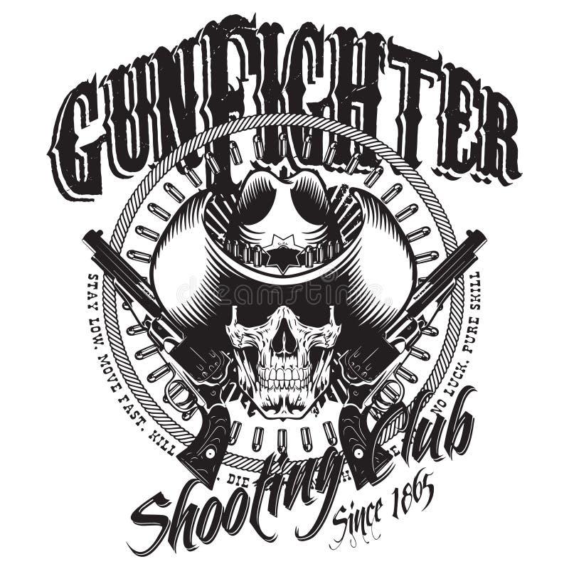 Ontwerp Gunfighter Schedel in cowboyhoed, twee gekruiste kanon en kogels stock illustratie