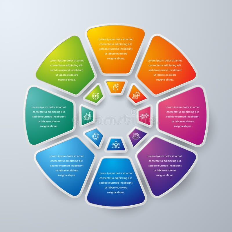 Ontwerp het bedrijfs van Infographic met 8 proceskeuzen of stappen Ontwerpelementen voor uw zaken zoals rapporten, brochures, vector illustratie