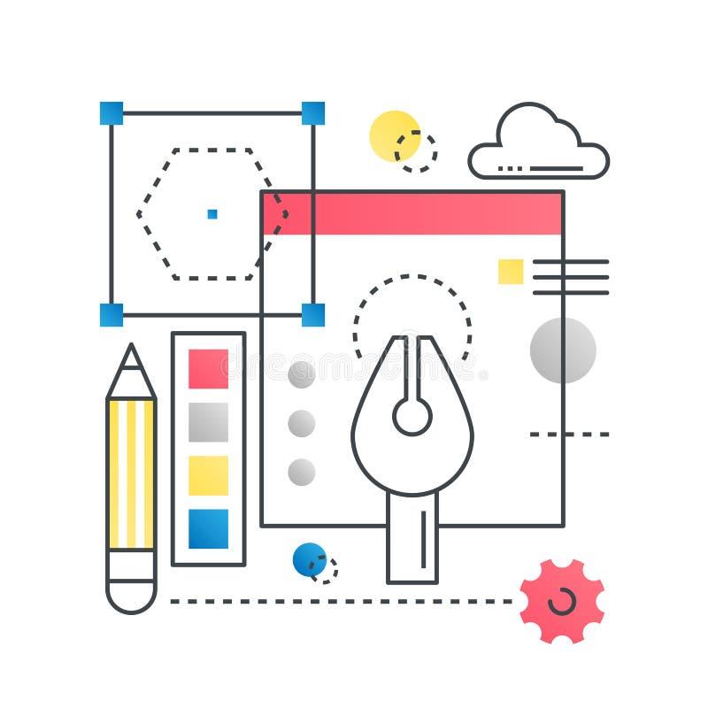 Ontwerp, het creatieve vectorconcept van het ideeconcept in in lijn met gradiënt vlakke kleur stock illustratie
