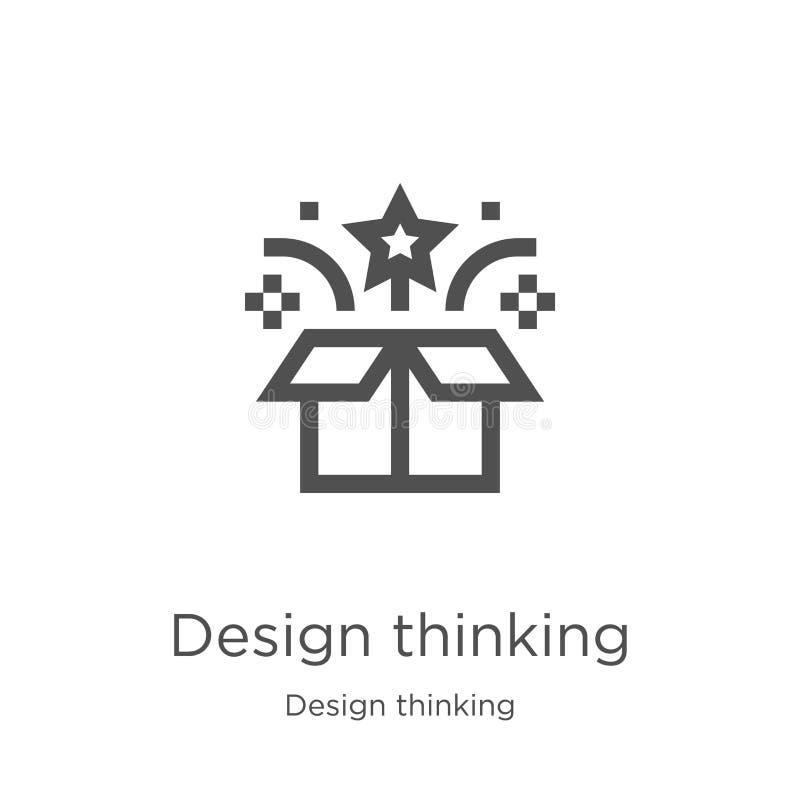 ontwerp het denken pictogramvector van ontwerp het denken inzameling De dunne lijnontwerp het denken vectorillustratie van het ov stock illustratie