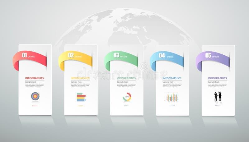Ontwerp infographic malplaatje 5 stappen voor bedrijfsconcept vector illustratie