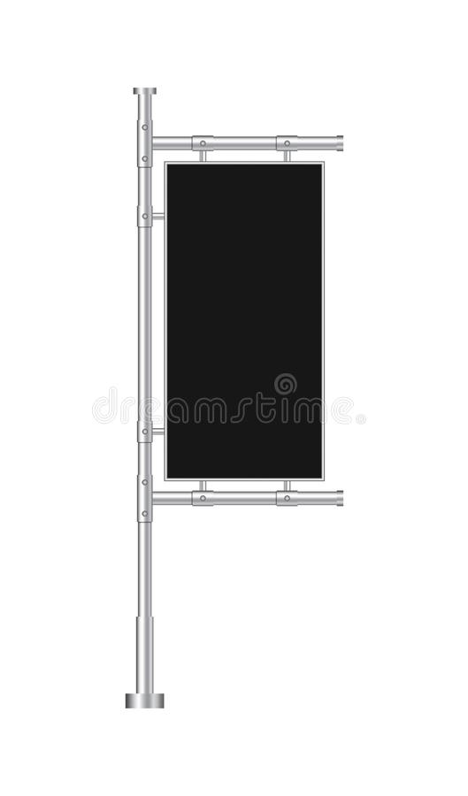 Ontwerp lege banner voor website Zwarte Openluchtcomité Vlag in modelstijl Tribune reclameaffiche, schild op achtergrond Vector stock illustratie