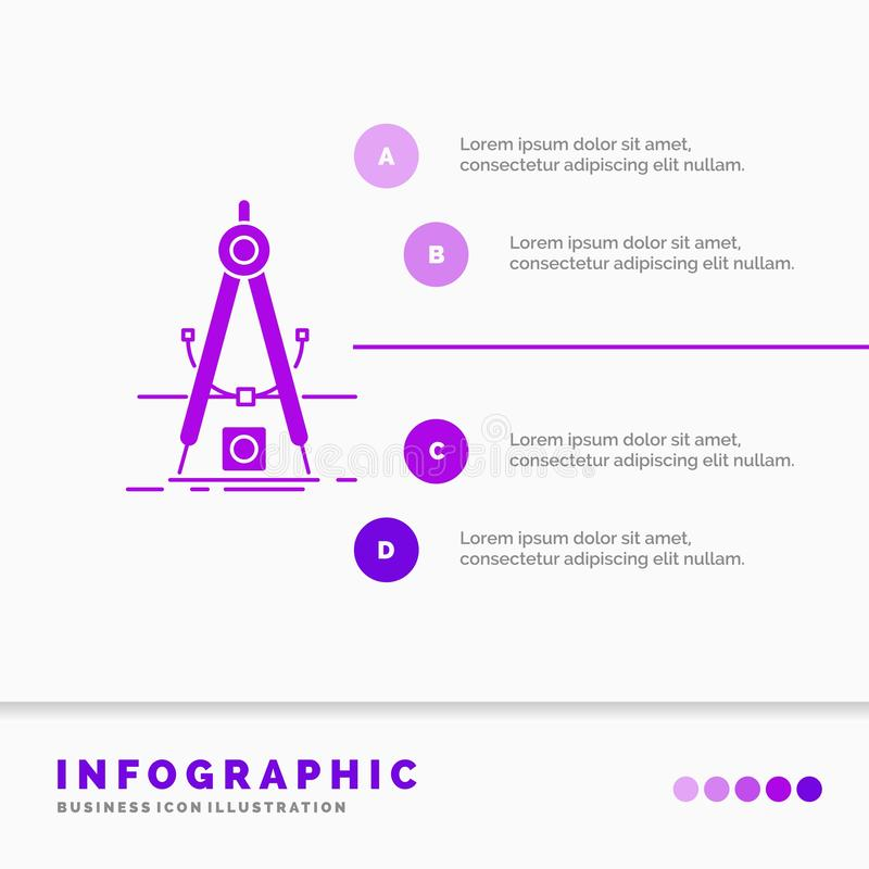 Ontwerp, maatregel, product, verbetering, het Malplaatje van Ontwikkelingsinfographics voor Website en Presentatie GLyph Purper p vector illustratie