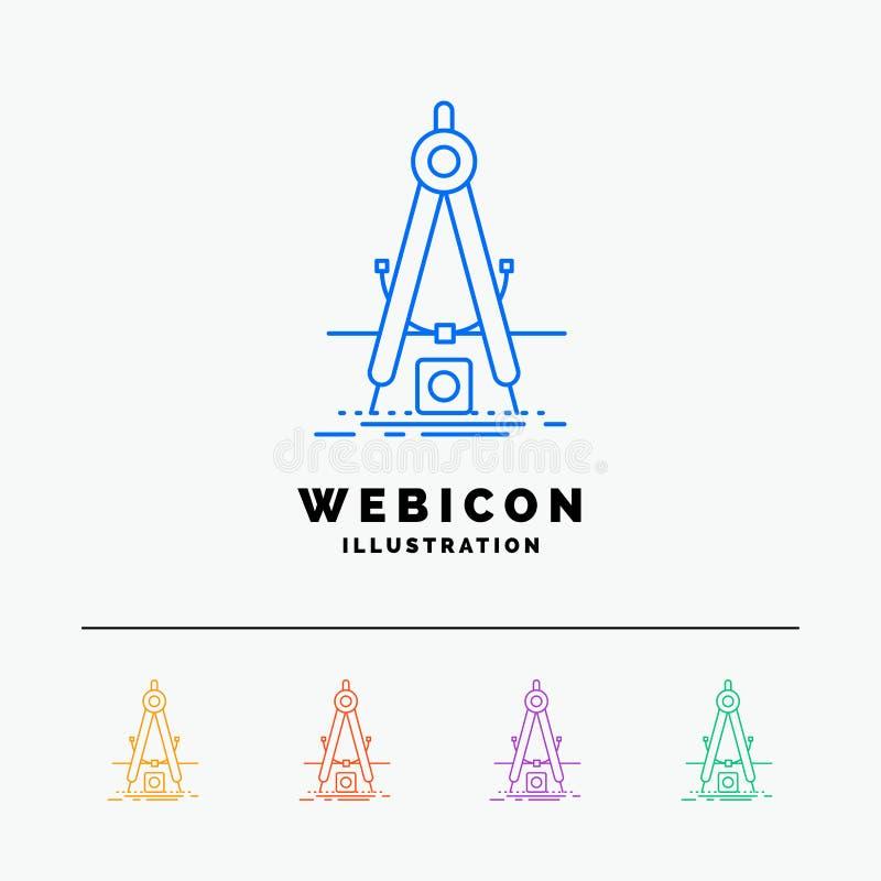 Ontwerp, maatregel, product, verbetering, Ontwikkeling 5 het Pictogrammalplaatje van het Rassenbarrièreweb op wit wordt geïsoleer vector illustratie