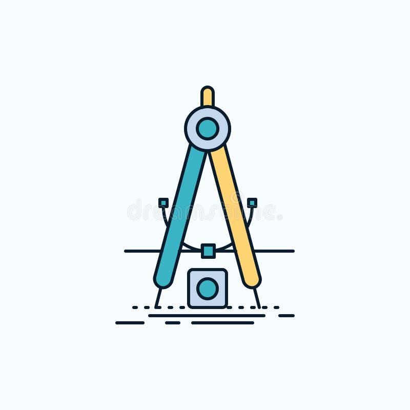 Ontwerp, maatregel, product, verbetering, Ontwikkelings Vlak Pictogram groene en Gele teken en symbolen voor website en Mobiele a royalty-vrije illustratie