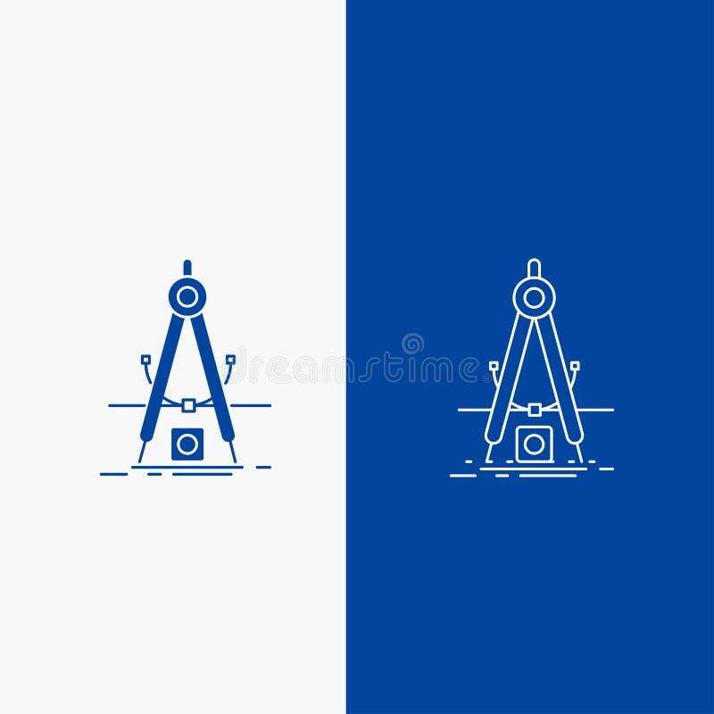 Ontwerp, maatregel, product, verbetering, Ontwikkelingslijn en Glyph-Webknoop in Blauwe kleuren Verticale Banner voor UI en UX, w stock illustratie