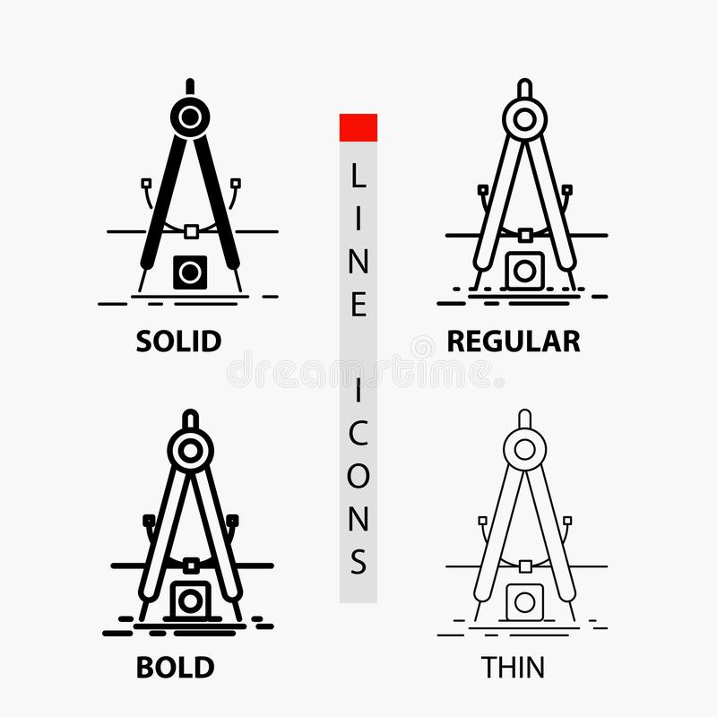 Ontwerp, maatregel, product, verbetering, Ontwikkelingspictogram in Dunne, Regelmatige, Gewaagde Lijn en Glyph-Stijl Vector illus stock illustratie