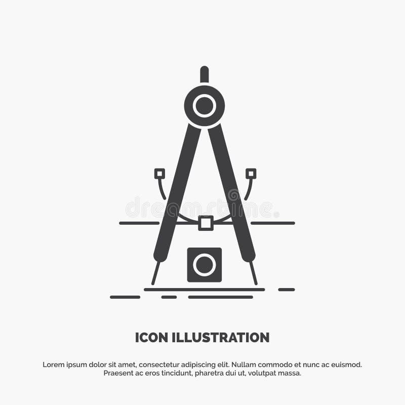Ontwerp, maatregel, product, verbetering, Ontwikkelingspictogram glyph vector grijs symbool voor UI en UX, website of mobiele toe stock illustratie