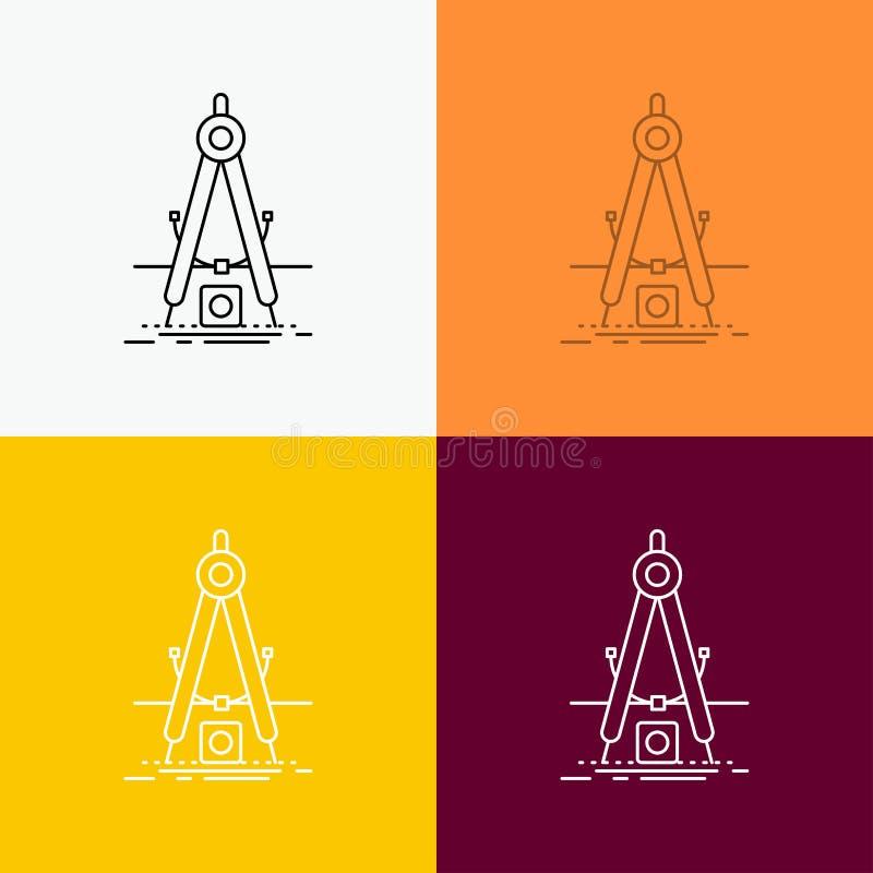Ontwerp, maatregel, product, verbetering, Ontwikkelingspictogram over Diverse Achtergrond r EPS royalty-vrije illustratie