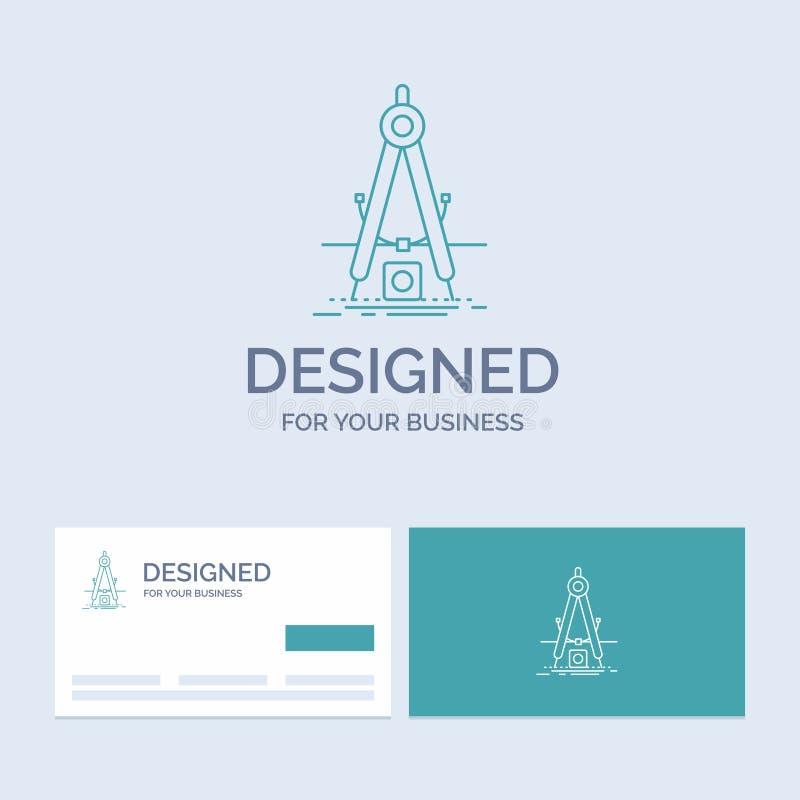 Ontwerp, maatregel, product, verbetering, Ontwikkelingszaken Logo Line Icon Symbol voor uw zaken Turkooise Visitekaartjes met stock illustratie