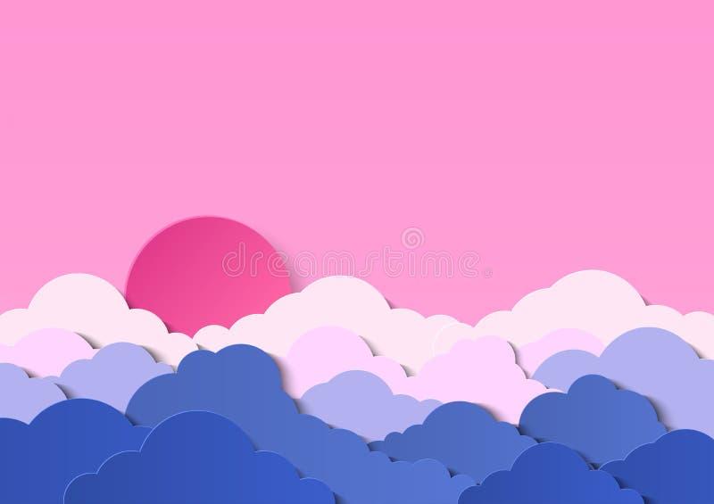 Ontwerp met cumuluswolken in een bewolkte hemel Zonsondergang of zonsopgang met rode zon boven de wolken Document besnoeiingsontw stock illustratie