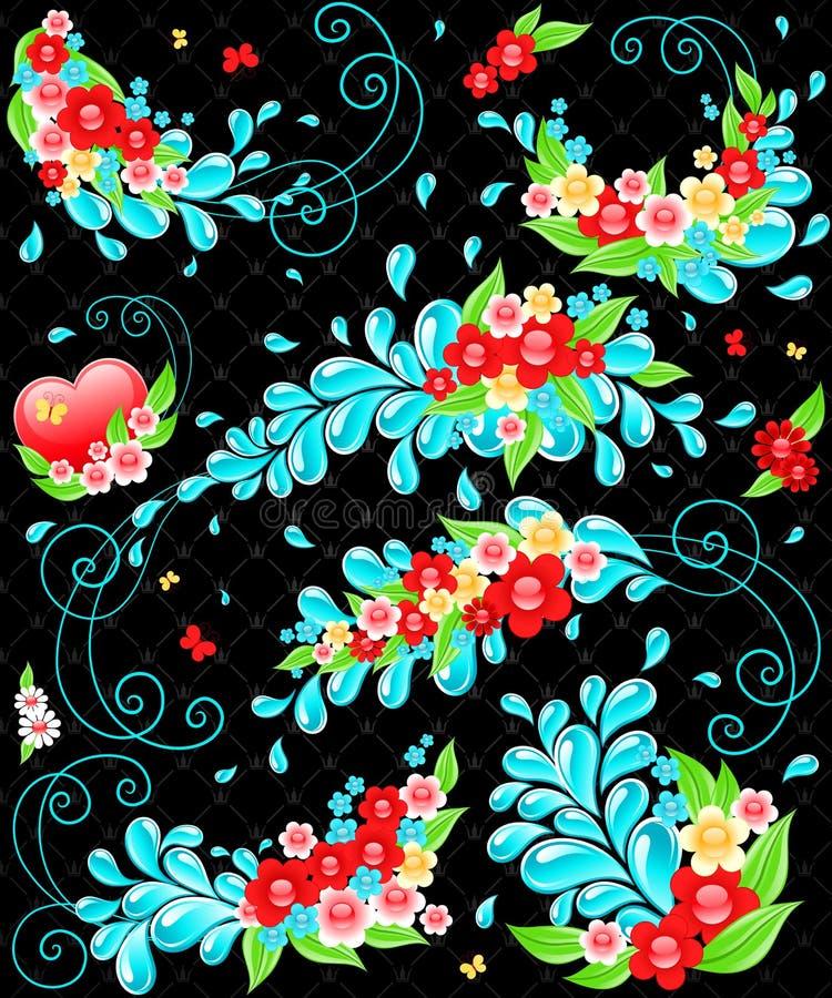 Ontwerp met dalingen en bloemen. stock illustratie