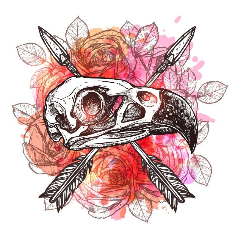 Ontwerp met Eagle Skull And Arrows royalty-vrije illustratie