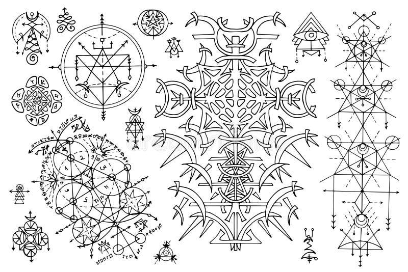Ontwerp met gotische abstracte patronen en mysticussymbolen wordt geplaatst op wit dat royalty-vrije illustratie