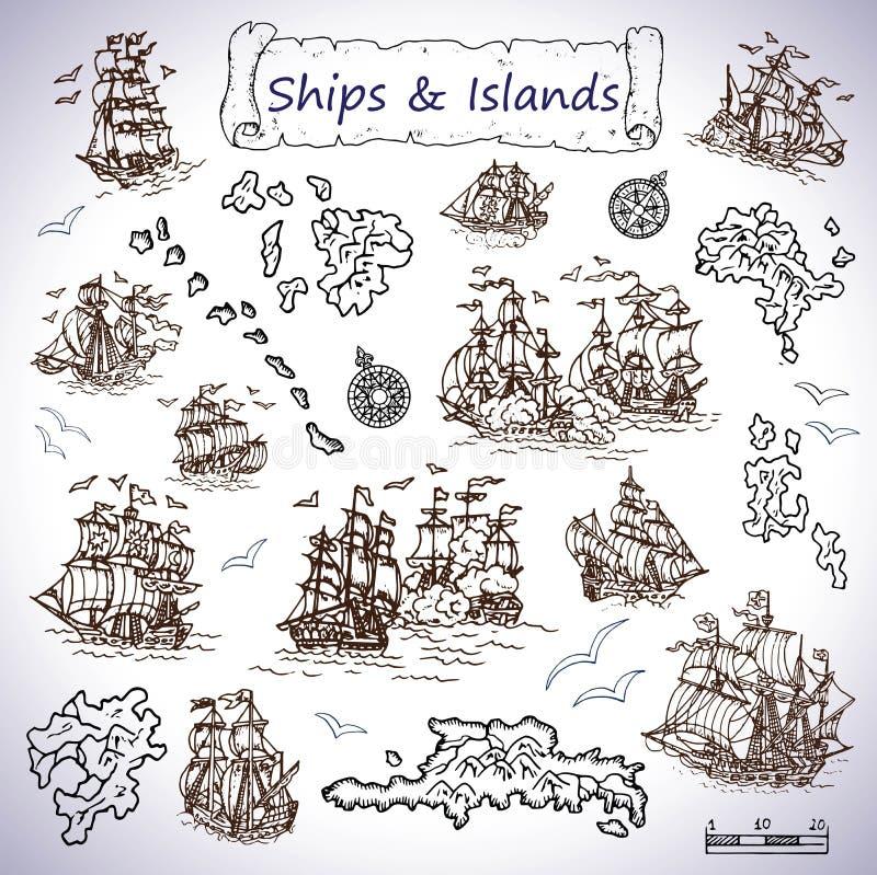 Ontwerp met oude varende schepen, schateilanden, kompassen wordt geplaatst dat royalty-vrije illustratie