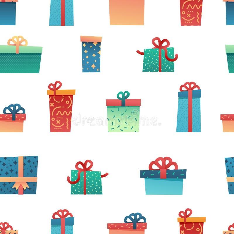Ontwerp naadloos patroon voor Kerstmisachtergrond Behang met in illustratie vlak heden en giftdoos royalty-vrije illustratie