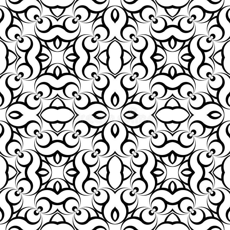 Ontwerp naadloos zwart-wit golvend geometrisch patroon stock illustratie