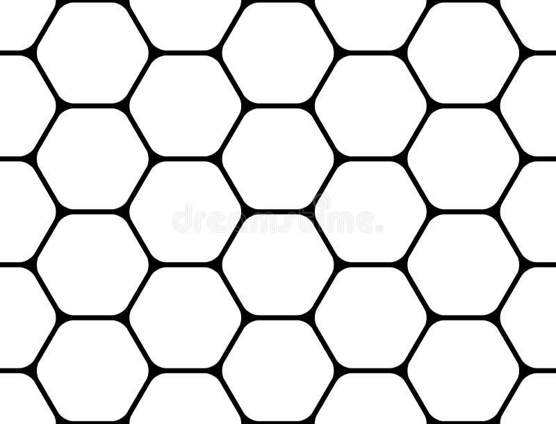 Ontwerp naadloos zwart-wit hexagon patroon stock illustratie