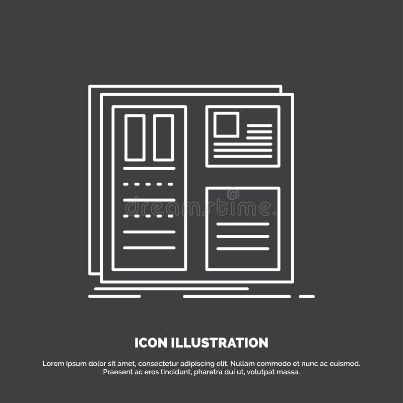 Ontwerp, net, interface, lay-out, ui Pictogram Lijn vectorsymbool voor UI en UX, website of mobiele toepassing royalty-vrije illustratie