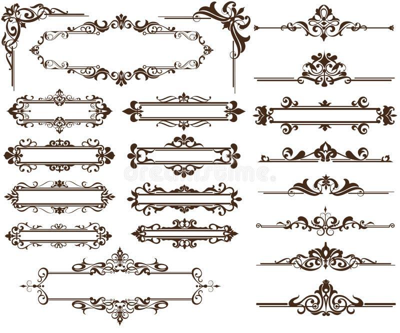 Ontwerp ornamet Hoeken en grenzen royalty-vrije illustratie