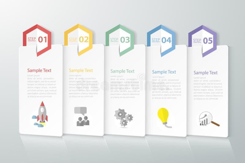 Ontwerp schoon malplaatje Infographic kan voor werkschema, lay-out, diagram worden gebruikt royalty-vrije illustratie