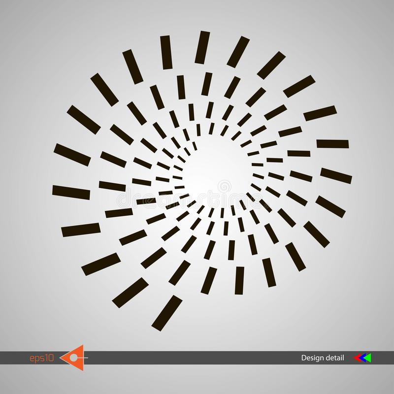 Ontwerp spiraalvormige patronen van rechthoekvormen Abstracte zwart-wit ronde achtergrond Vectorillustratie zonder gradiënt vector illustratie