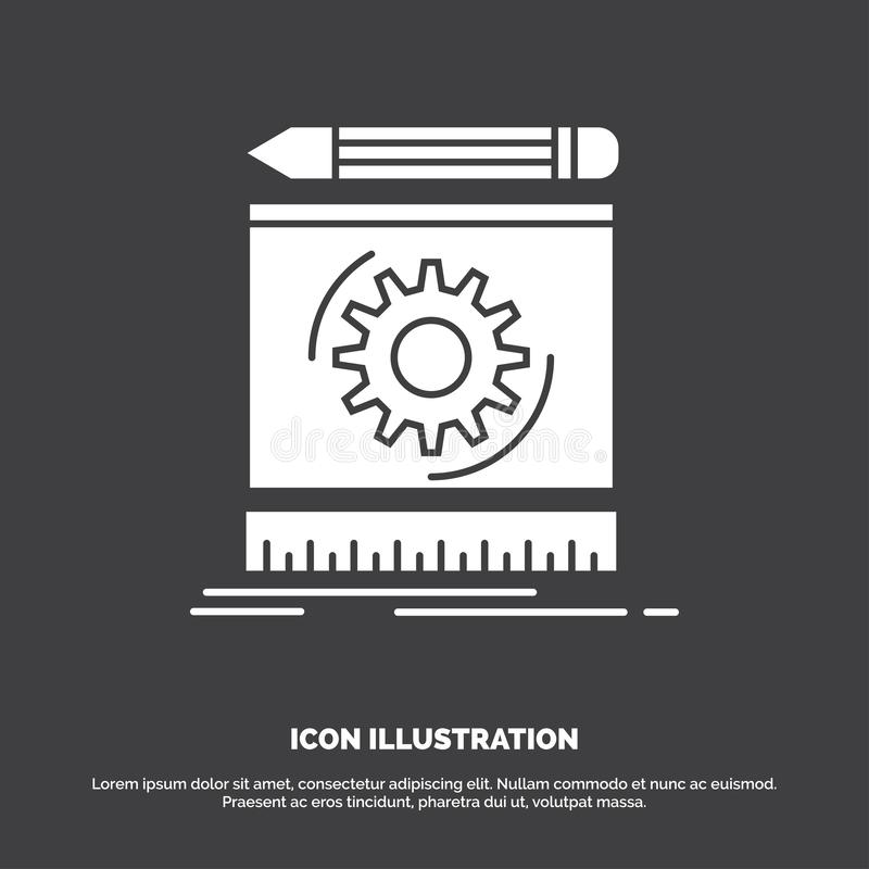 Ontwerp, techniek, proces, prototype, prototyping Pictogram glyph vectorsymbool voor UI en UX, website of mobiele toepassing royalty-vrije illustratie