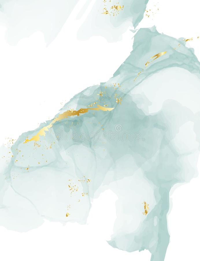 Ontwerp van de de alcoholinkt van de pastelkleur het blauwe gouden oude textuur In waterverf Elegante die Achtergrond in Vector v stock illustratie