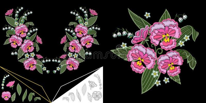 Ontwerp van de borduurwerk het bloemenhalslijn vector illustratie