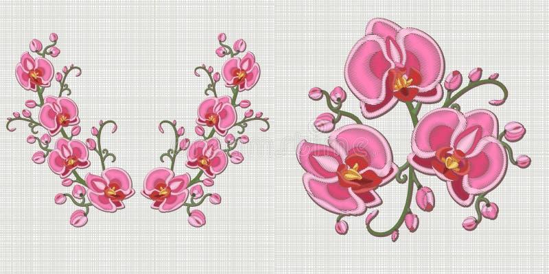 Ontwerp van de borduurwerk het bloemenhalslijn stock illustratie