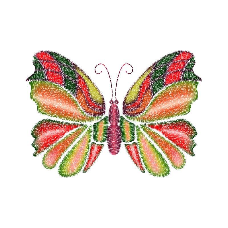 Ontwerp van de borduurwerk het kleurrijke tropische vlinder voor kleding stock illustratie
