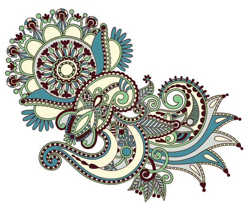 Ontwerp van de de kunst het overladen bloem van de lijn stock illustratie