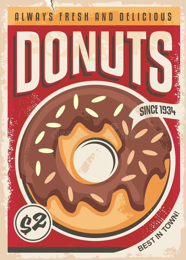 Ontwerp van de Donuts het promotie retro affiche vector illustratie