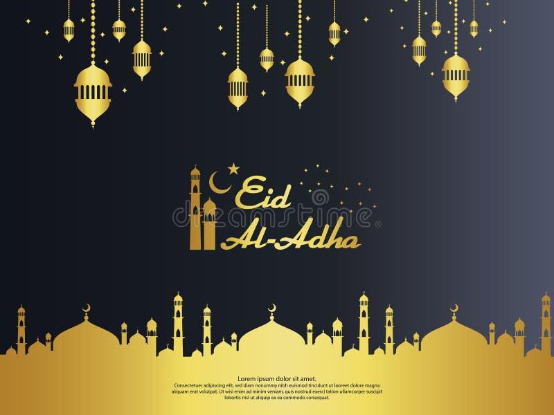 Ontwerp van de de groetkaart van Eid al Adha Mubarak snijden het Islamitische met koepelmoskee en het hangende lantaarnelement in royalty-vrije illustratie
